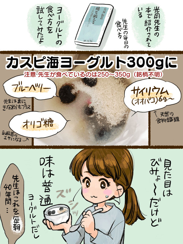 光岡知足先生の「腸を鍛える」の先生実践のヨーグルト摂取方法を私も取り入れてみる漫画