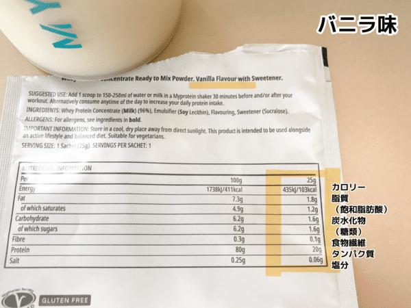 マイプロテイン「バニラ味」の写真と栄養成分表