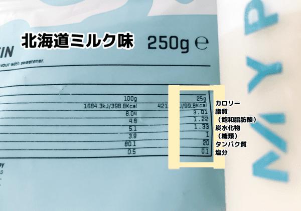 マイプロテイン 北海道ミルク味 栄養成分表示
