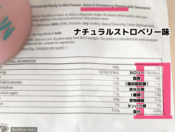 マイプロテイン ナチュラルストロベリー味 栄養成分表示 写真口コミレビューブログ